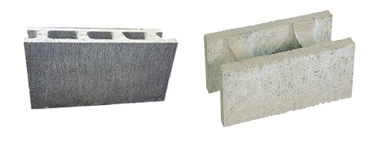 一般的な空洞ブロック(CB)左と、型枠ブロック(CP)右